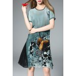 Flared Ink Painting Dress in Green