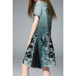 Flared Ink Painting Dress in Green deal