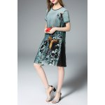 Flared Ink Painting Dress in Green for sale