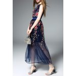 Embroidered Floral Tulle Dress in Blue deal