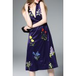 Sleeveless Deep V Neck Embroidered Dress deal
