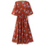 cheap Fashion Round Neck Floral Print Front Slit Dress For Women