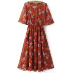 Fashion Round Neck Floral Print Front Slit Dress For Women