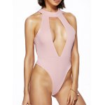 Alluring Round Neck Solid Color Cut Out One Piece Swimwear For Women