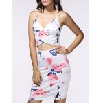 Spaghetti Strap Wrap Cutout Floral Bandage Dress