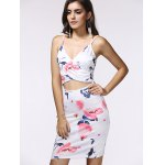 cheap Spaghetti Strap Wrap Cutout Floral Bandage Dress