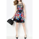Sleeveless Floral Dress With Mesh Yoke deal
