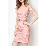 Sheer Sleeve Embroidered Dress With Belt deal