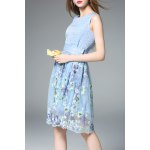 Sleeveless Embroidered Floral Blue Sundress deal