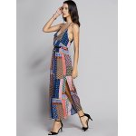 Bohemian Fitted Spaghetti Strap Check Printed Dress For Women deal