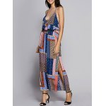Bohemian Fitted Spaghetti Strap Check Printed Dress For Women