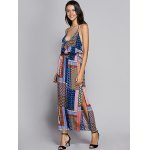 cheap Bohemian Fitted Spaghetti Strap Check Printed Dress For Women