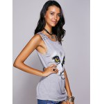 cheap Casual Scoop Neck Printed Studded Tee For Women