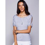 cheap Casual Scoop Neck Cold Shouder T-Shirt For Women