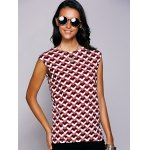 cheap Casual Round Neck Geometric Top For Women
