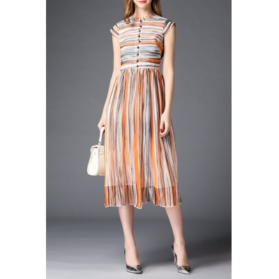 Stand Neck Short Sleeve Striped Dress