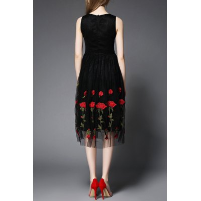 Stand Neck Sleeveless Rose Embroidery DressDesigner Dresses<br>Stand Neck Sleeveless Rose Embroidery Dress<br><br>Style: Brief<br>Occasion: Beach,Bridal,Casual,Prom,Work<br>Material: Polyester,Silk<br>Composition: Outer Composition:100% Silk&lt;br&gt;Lining Composition:100% Polyester<br>Silhouette: A-Line<br>Dresses Length: Mid-Calf<br>Neckline: Round Collar<br>Sleeve Length: Sleeveless<br>Embellishment: Embroidery<br>Pattern Type: Floral<br>With Belt: No<br>Season: Fall,Spring,Summer<br>Weight: 0.320kg<br>Package Contents: 1 x Dress