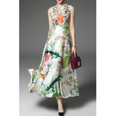Round Neck High Waisted Floral Embroidery Dress