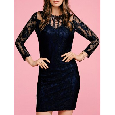 Round Neck 3/4 Sleeve Black Lace Bodycon Dress