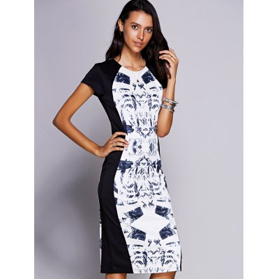 Jewel Neck Short Sleeve Print Midi Dress For Women