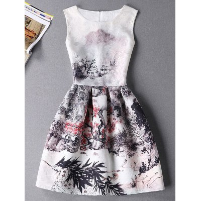 Stylish Sleeveless Round Neck Oil Painting Print Dress
