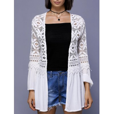 Trendy Crochet Lace-Trim Flare Sleeve Cover Up For Women