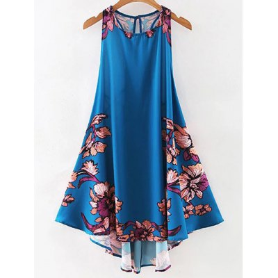 Stylish Round Neck Floral Print A Line Women's Sundress