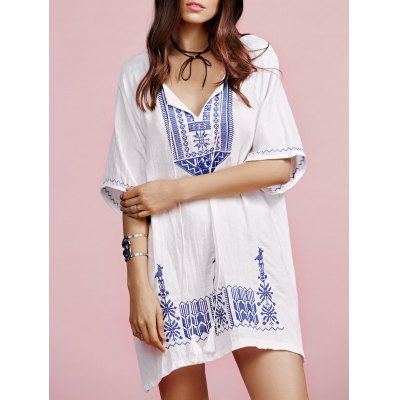 V Neck Half Sleeves Ethnic Embroidery Dress