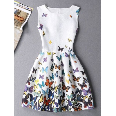 Stylish Sleeveless Round Neck Butterfly Print Mini Dress