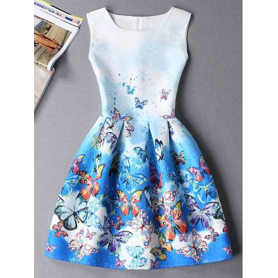Cute Sleeveless Round Neck Butterfly Print Ombre Dress