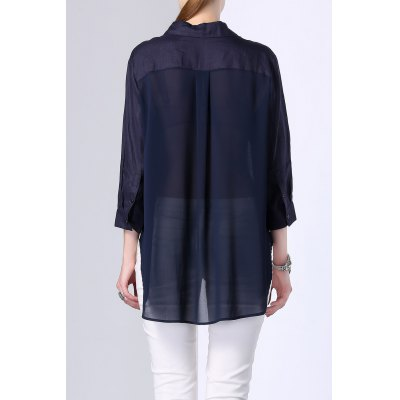 Single Breasted High Low Pocket Embellished ShirtDesigner Tops<br>Single Breasted High Low Pocket Embellished Shirt<br><br>Material: Polyester,Ramie<br>Composition: Outer Composition:100% Ramie&lt;br&gt;Lining Composition:100% Polyester<br>Clothing Length: Long<br>Sleeve Length: Three Quarter<br>Collar: Shirt Collar<br>Pattern Type: Solid<br>Style: Fashion<br>Seasons: Autumn,Spring,Summer<br>Weight: 0.240kg<br>Package Contents: 1 x Shirt