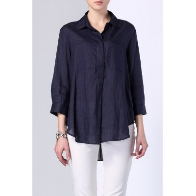 Button Front High Low Solid Color Shirt