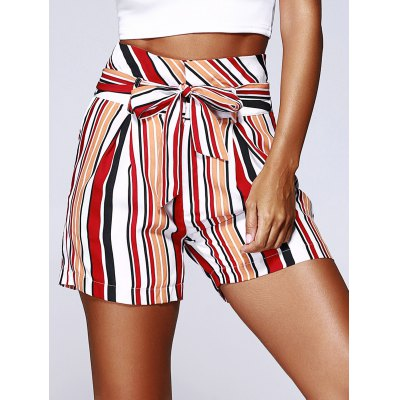 Color Block Stripe High Waist Bandage Shorts For Woman