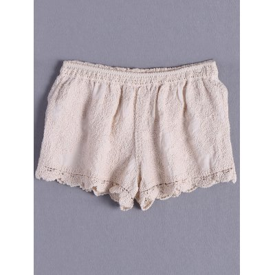 Solid Color Crochet Shorts For Women
