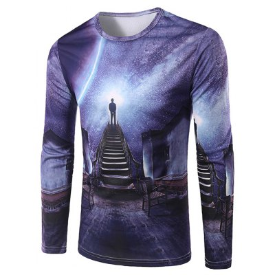 3D Stairs Printing Collarless Long Sleeves For Men