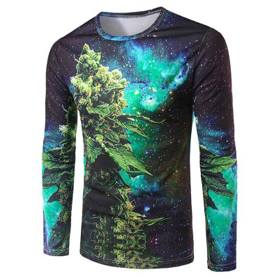 3D Plant Printing Collarless Long Sleeves For Men