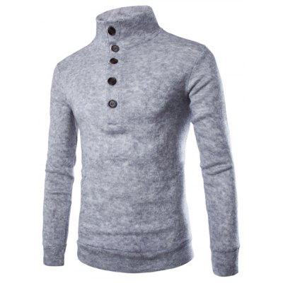 Casual Stand Collar Button Design Long Sleeves Sweater For Men