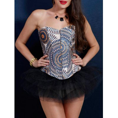 Fashionable Slimming Tribal Print Corset For Women