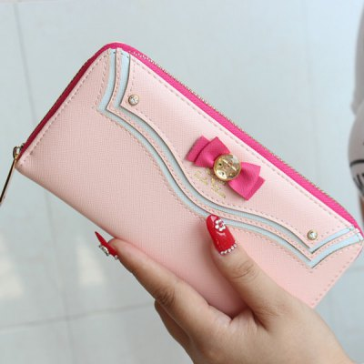 Sweet Bow and Metal Design Wallet For Women