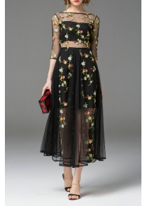 Boat Neck See Through Floral Embroidered Dress