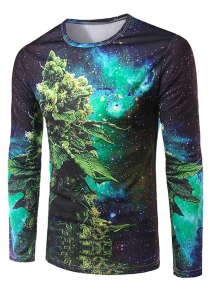 Slimming 3D Plant Printing Collarless Long Sleeves For Men