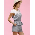 Trendy Jewel Neck Patchwork Flounce Hem Tee + Pure Color Shorts Twinset For Women deal