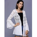 Trendy Crochet Lace-Trim Flare Sleeve Cover Up For Women deal