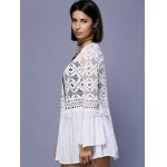 Trendy Crochet Lace-Trim Flare Sleeve Cover Up For Women for sale