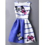 Chic Butterfly Print Color Block Scoop Neck Sleeveless Dress For Women