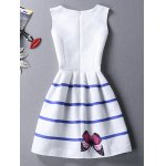 cheap Chic Butterfly Print Color Block Scoop Neck Sleeveless Dress For Women