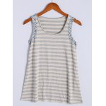 Simple Scoop Neck Striped Floral Hem Tank Top For Women