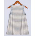 cheap Simple Scoop Neck Striped Floral Hem Tank Top For Women