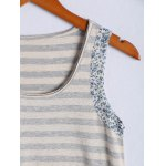 Simple Scoop Neck Striped Floral Hem Tank Top For Women deal