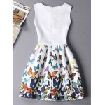 cheap Stylish Sleeveless Round Neck Butterfly Print Women's Mini Dress